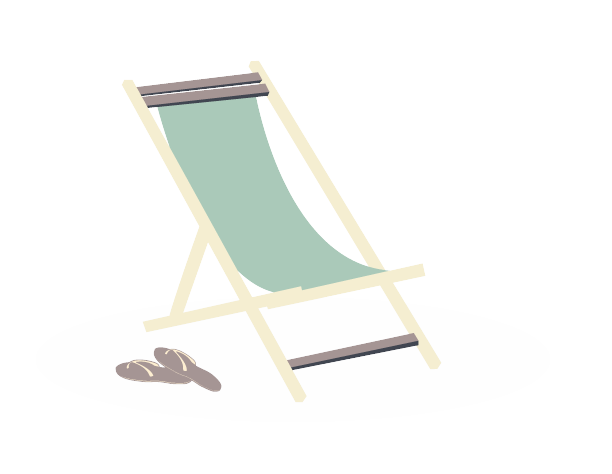 A green lounge chair and a pair of flip flops.